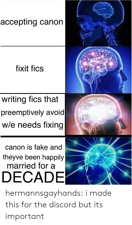 happily married: accepting canon  fixit fics  writing fics that  preemptively avoid  w/e needs fixing  canon is fake and  theyve been happily  married for a  DECADE hermannsgayhands: i made this for the discord but its important