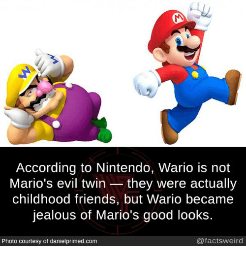 Evil Twin: According to Nintendo, Wario is not  Mario's evil twin they were actually  childhood friends, but Wario became  jealous of Mario's good looks  Photo courtesy of danielprimed.com  @factsweird