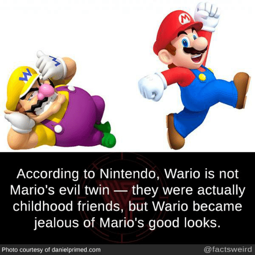 wario: According to Nintendo, Wario is not  Mario's evil twin they were actually  childhood friends, but Wario became  jealous of Mario's good looks  Photo courtesy of danielprimed.com  @factsweird