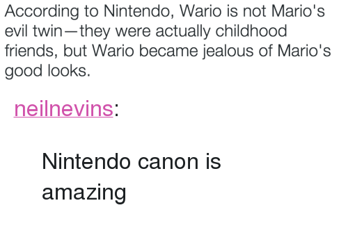 """Evil Twin: According to Nintendo, Wario is not Mario's  evil twin-they were actually childhood  friends, but Wario became jealous of Mario's  good looks <p><a class=""""tumblr_blog"""" href=""""http://neilnevins.tumblr.com/post/120496333883"""">neilnevins</a>:</p><blockquote> <p>Nintendo canon is amazing</p> </blockquote>"""