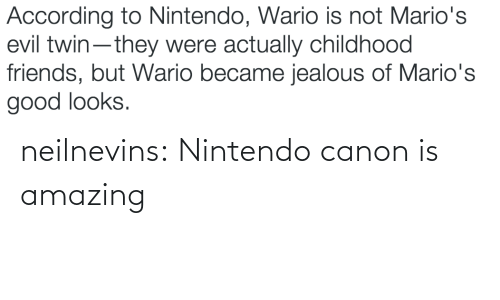Evil Twin: According to Nintendo, Wario is not Mario's  evil twin-they were actually childhood  friends, but Wario became jealous of Mario's  good looks. neilnevins:  Nintendo canon is amazing