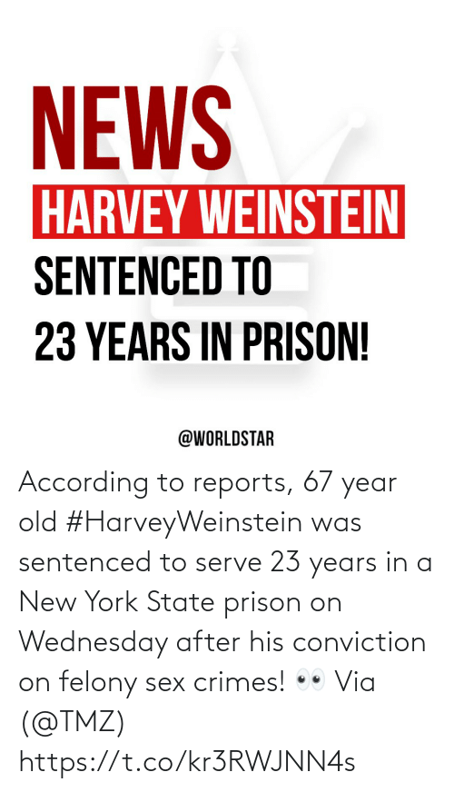 Wednesday: According to reports, 67 year old #HarveyWeinstein was sentenced to serve 23 years in a New York State prison on Wednesday after his conviction on felony sex crimes! 👀 Via (@TMZ) https://t.co/kr3RWJNN4s
