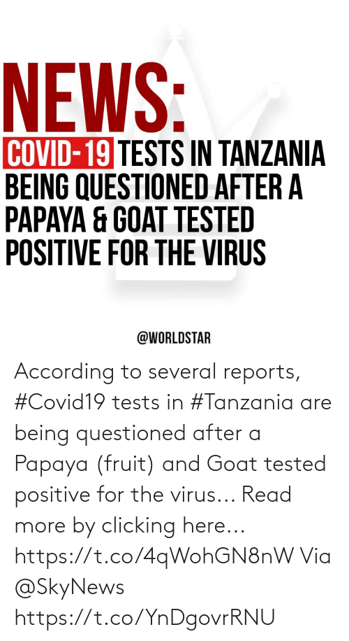 According: According to several reports, #Covid19 tests in #Tanzania are being questioned after a Papaya (fruit) and Goat tested positive for the virus... Read more by clicking here... https://t.co/4qWohGN8nW Via @SkyNews https://t.co/YnDgovrRNU
