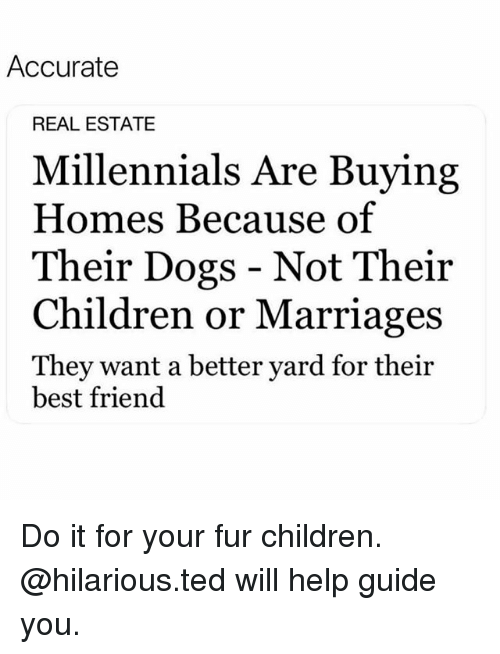 Best Friend, Children, and Dogs: Accurate  REAL ESTATE  Millennials Are Buying  Homes Because of  Their Dogs - Not Their  Children or Marriages  They want a better yard for their  best friend Do it for your fur children. @hilarious.ted will help guide you.