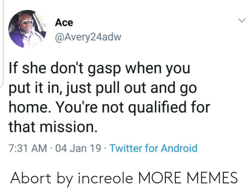Qualified: Ace  @Avery24adw  If she don't gasp when you  put it in, just pull out and go  home. You're not qualified for  that mission.  7:31 AM 04 Jan 19 Twitter for Android Abort by increole MORE MEMES