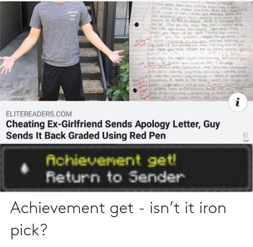 Pick: Achievement get - isn't it iron pick?