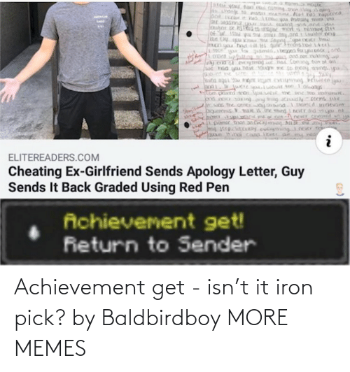 iron: Achievement get - isn't it iron pick? by Baldbirdboy MORE MEMES