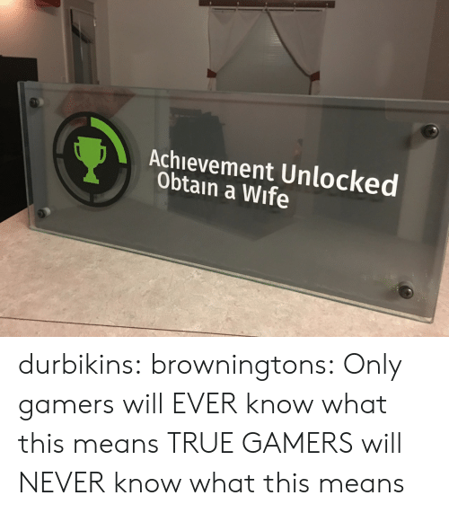 Gamers Will: Achievement Unlocked  Obtain a Wife durbikins: browningtons:  Only gamers will EVER know what this means  TRUE GAMERS will NEVER know what this means