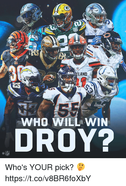 Memes, Nfl, and Broncos: ACKERS  LAND  CARGERS  BRONCOs  WHO WILL WIN  DROY?  NFL Who's YOUR pick? 🤔 https://t.co/v8BR6foXbY