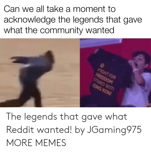 Community, Dank, and Memes: acknowledge the legends that gave  what the community wanted  Can we all take a moment to  FIGHT FOR  FREEDOM  STAND WIT  ONG KON The legends that gave what Reddit wanted! by JGaming975 MORE MEMES