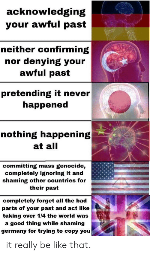 genocide: acknowledging  your awful past  neither confirming  denying your  awful past  nor  pretending it never  happened  nothing happening  at all  committing mass  completely ignoring it and  shaming other countries for  genocide,  their past  completely forget all the bad  parts of your past and act like  taking over 1/4 the world was  a good thing while shaming  germany for trying to copy you it really be like that.