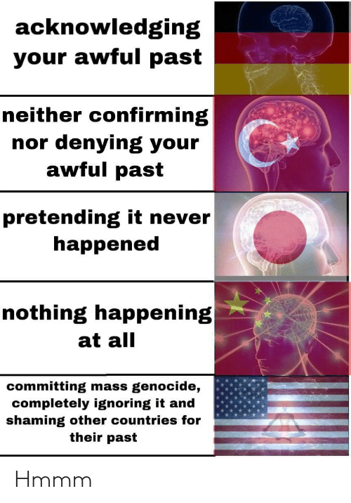 genocide: acknowledging  your awful past  neither confirming  nor denying your  awful past  pretending it never  happened  nothing happening  at all  committing mass genocide,  completely ignoring it and  shaming other countries for  their past Hmmm