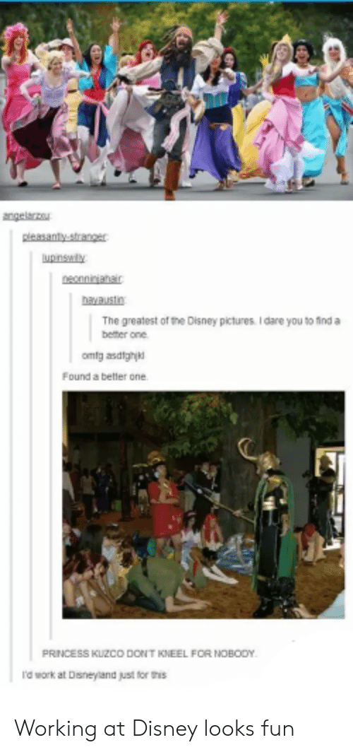Looks Fun: Aconnanar  ayaustn  The greatest of the Disney pictures. I dare you to find a  better one  Found a betler one.  PRNCESS KUZCO DONT KNEEL FOR NOBODY  I'd work at Disneyland just for t Working at Disney looks fun