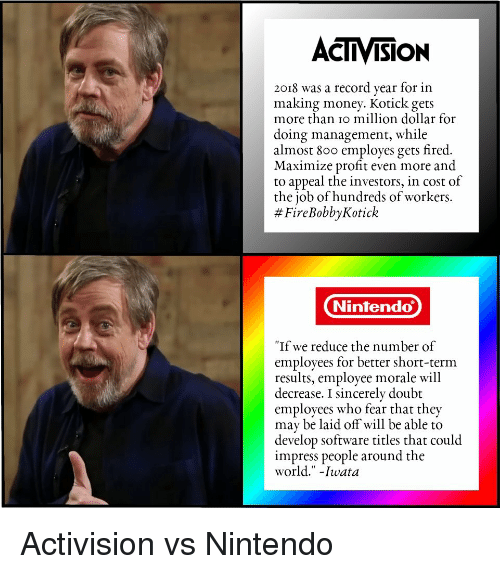 """activision: ACTIVISION  2018 was a record year for in  making money. Kotick gets  more than io million dollar for  doing management, while  almost 800 employes gets fired.  Maximize profit even more and  to appeal the investors, in cost of  the job of hundreds of workers.  # FireBobbyKotick  Nintendo  """"If we reduce the number of  employees for better short-term  results, employee morale will  decrease. I sincerely doubt  employees who fear that they  may be laid off will be able to  develop software titles that could  impress people around the  world."""" -Iwata Activision vs Nintendo"""