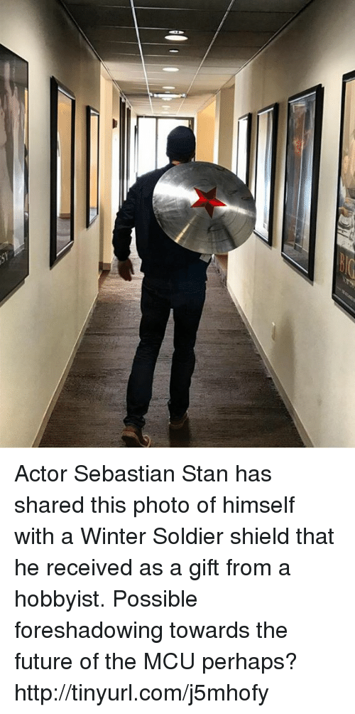 Memes, Soldiers, and Stan: Actor Sebastian Stan has shared this photo of himself with a Winter Soldier shield that he received as a gift from a hobbyist.  Possible foreshadowing towards the future of the MCU perhaps? http://tinyurl.com/j5mhofy