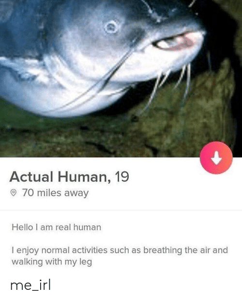 Hello, Irl, and Me IRL: Actual Human, 19  70 miles away  Hello I am real human  I enjoy normal activities such as breathing the air and  walking with my leg me_irl