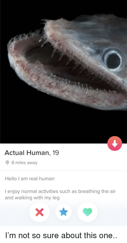 Hello, 8 Miles, and Human: Actual Human, 19  8 miles away  Hello I am real human  I enjoy normal activities such as breathing the air  and walking with my leg I'm not so sure about this one..
