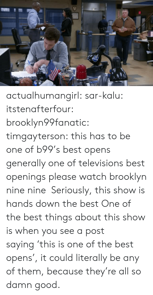 Nine Nine: actualhumangirl: sar-kalu:  itstenafterfour:  brooklyn99fanatic:  timgayterson: this has to be one of b99's best opens  generally one of televisions best openings  please watch brooklyn nine nine    Seriously, this show is hands down the best  One of the best things about this show is when you see a post saying 'this is one of the best opens', it could literally be any of them, because they're all so damn good.