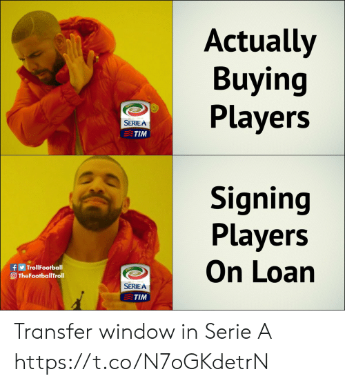 Memes, 🤖, and Serie A: Actually  Buying  Players  SERIE A  TIM  Signing  Players  On Loan  f TrollFootball  O TheFootballTroll  012-2013  SERIEA  TIM Transfer window in Serie A https://t.co/N7oGKdetrN