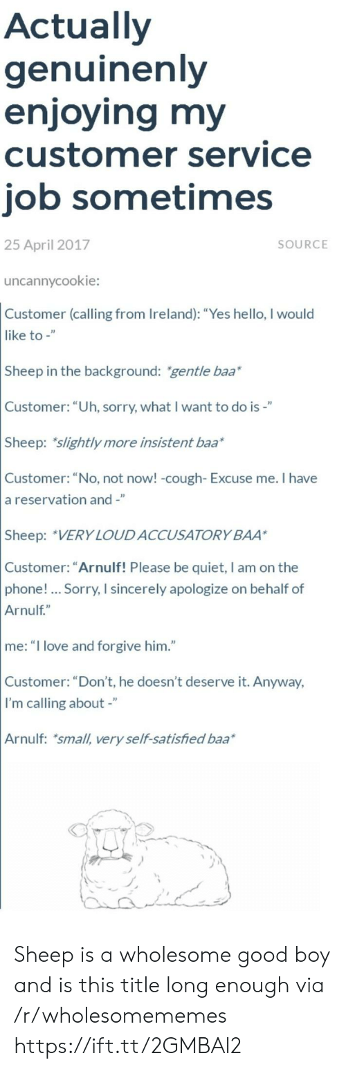 """Hello, Love, and Phone: Actually  genuinenly  enjoying my  customer service  job sometimes  25 April 2017  SOURCE  uncannycookie:  Customer (calling from Ireland): """"Yes hello, I would  like to -""""  Sheep in the background: gentle baa*  Customer: """"Uh, sorry, what I want to do is-""""  Sheep: slightly more insistent baa*  Customer: """"No, not now! -cough- Excuse me. I have  a reservation and -""""  Sheep: VERY LOUDACCUSATORY BAA  Customer: """"Arnulf! Please be quiet, I am on the  phone!... Sorry, I sincerely apologize on behalf of  Arnulf""""  me: """"I love and forgive him.""""  Customer: """"Don't, he doesn't deserve it. Anyway,  I'm calling about -""""  Arnulf: small, very self-satisfied baa Sheep is a wholesome good boy and is this title long enough via /r/wholesomememes https://ift.tt/2GMBAI2"""