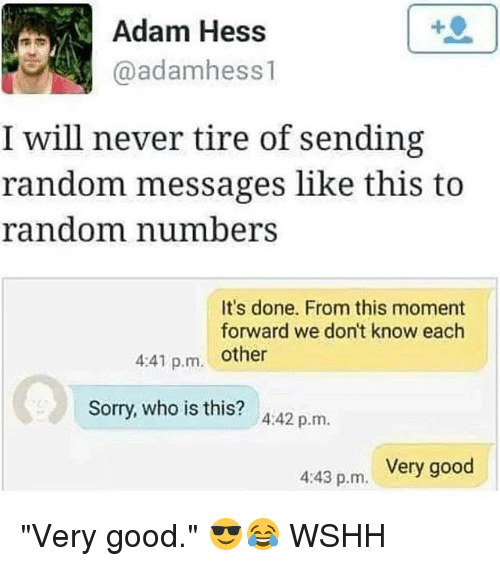 """Adamated: Adam Hess  @adamhess 1  I will never tire of sending  random messages like this to  random number  It's done. From this moment  forward we don't know each  4:41 p.m. other  Sorry, who is this? A:42 p.m.  Very good  4:43 p.m. """"Very good."""" 😎😂 WSHH"""