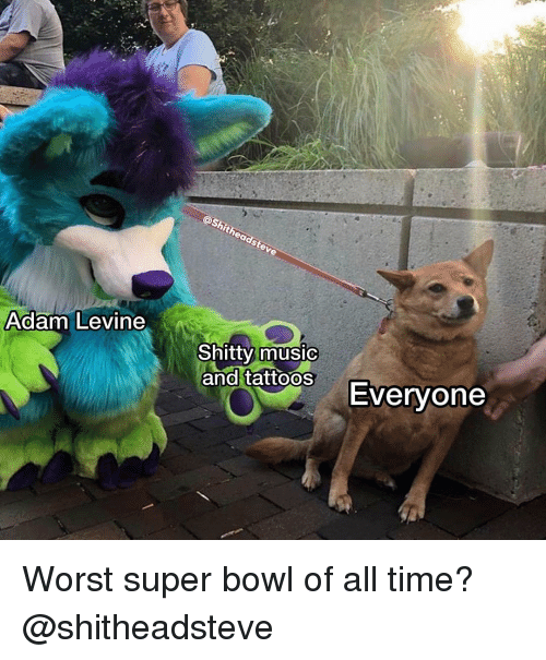 Shitheadsteve: Adam Levine  0  Shitty music  and tattoosEvervone Worst super bowl of all time? @shitheadsteve