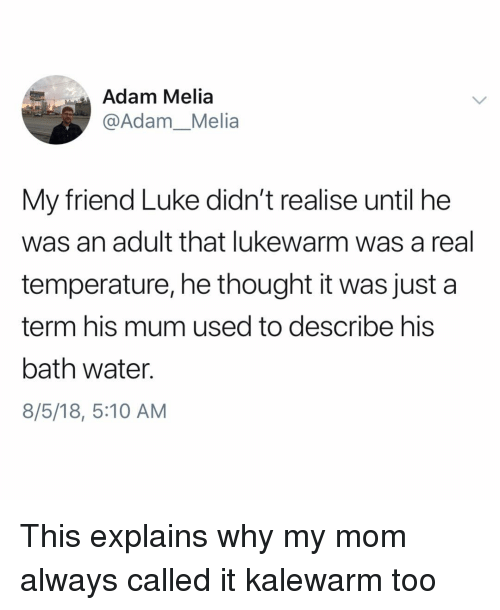 Memes, Water, and Thought: Adam Melia  @Adam_Melia  My friend Luke didn't realise until he  was an adult that lukewarm was a real  temperature, he thought it was just a  term his mum used to describe his  bath water.  8/5/18, 5:10 AM This explains why my mom always called it kalewarm too