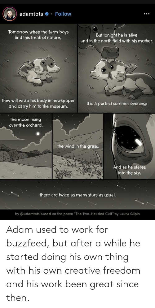 "adam: adamtots o - Follow  Tomorrow when the farm boys  find this freak of nature,  But tonight he is alive  and in the north field with his mother.  they will wrap his body in newspaper  and carry him to the museum.  It is a perfect summer evening:  the moon rising  over the orchard,  the wind in the grass.  And as he stares  into the sky,  there are twice as many stars as usual.  by @adamtots based on the poem ""The Two-Headed Calf"" by Laura Gilpin Adam used to work for buzzfeed, but after a while he started doing his own thing with his own creative freedom and his work been great since then."