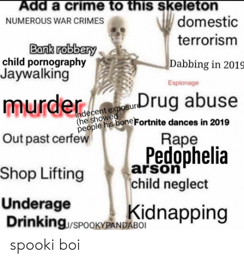 Spooki: Add a crime to this skeleton  domestic  terrorism  NUMEROUS WAR CRIMES  Bank robbery  child pornography  Jaywalking  Dabbing in 2019  Espionage  murder buse  heole nis bone Fortnite dances in 2019  Rape  Pedophelia  Shop Lifting arson  people  Out past cerfew  child neglect  Underage  Drinking/SPOOKYPANPA  kidnapping spooki boi