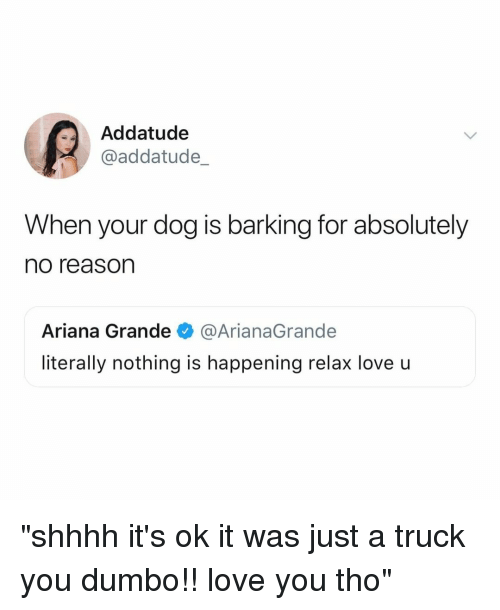 "Shhhh: Addatude  @addatude_  When your dog is barking for absolutely  no reason  Ariana Grande@ArianaGrande  literally nothing is happening relax love u ""shhhh it's ok it was just a truck you dumbo!! love you tho"""