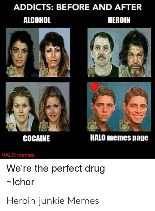 Heroin Junkie: ADDICTS: BEFORE AND AFTER  ALCOHOL  HEROIN  HALO memes page  COCAINE  HALO memes  We're the perfect drug  Ichor Heroin junkie Memes