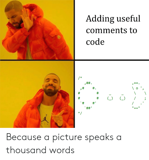 A Picture, Code, and Picture: Adding useful  comments to  code  ft)  I; Because a picture speaks a thousand words