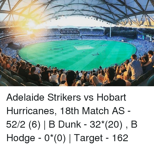 Hurrican: Adelaide Strikers vs Hobart Hurricanes, 18th Match  AS - 52/2 (6) | B Dunk - 32*(20) , B Hodge - 0*(0) | Target - 162