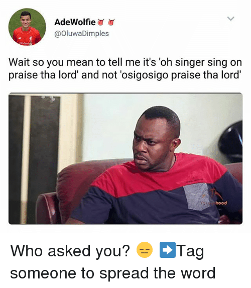 Memes, Mean, and Word: AdeWolfie  @OluwaDimples  Wait so you mean to tell me it's 'oh singer sing on  praise tha lord' and not 'osigosigo praise tha lord  hood Who asked you? 😑 ➡Tag someone to spread the word