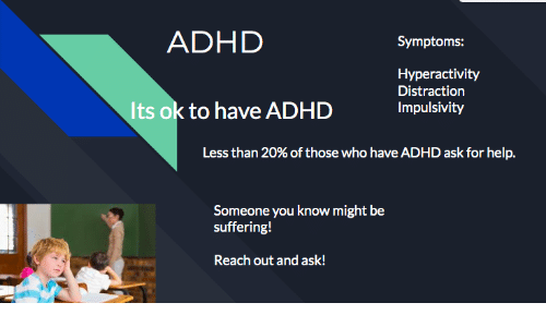 Who Have: ADHD  Symptoms:  Hyperactivity  Distraction  Its ok to have ADHD  Impulsivity  Less than 20% of those who have ADHD ask for help.  Someone you know might be  suffering!  Reach out and ask!