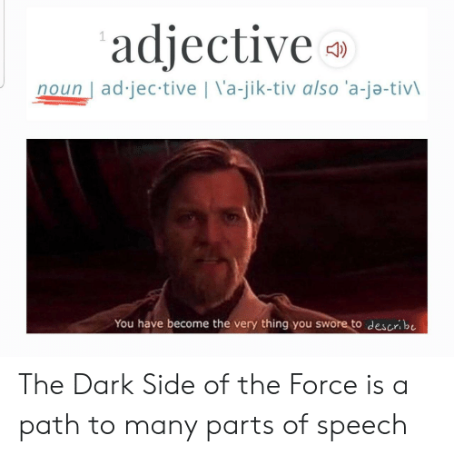 Dark, Force, and The Dark: adjective  noun ad jec tive | \'a-jik-tiv also 'a-ja-tivl  You have become the very thing you swore to describe The Dark Side of the Force is a path to many parts of speech