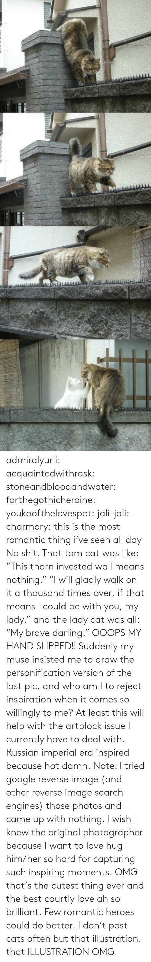 "lady: admiralyurii: acquaintedwithrask:  stoneandbloodandwater:  forthegothicheroine:  youkoofthelovespot:  jali-jali:  charmory:  this is the most romantic thing i've seen all day  No shit. That tom cat was like: ""This thorn invested wall means nothing."" ""I will gladly walk on it a thousand times over, if that means I could be with you, my lady."" and the lady cat was all: ""My brave darling."" OOOPS MY HAND SLIPPED!!  Suddenly my muse insisted me to draw the personification version of the last pic, and who am I to reject inspiration when it comes so willingly to me? At least this will help with the artblock issue I currently have to deal with. Russian imperial era inspired because hot damn. Note: I tried google reverse image (and other reverse image search engines) those photos and came up with nothing. I wish I knew the original photographer because I want to love hug him/her so hard for capturing such inspiring moments.  OMG that's the cutest thing ever and the best courtly love ah so brilliant.  Few romantic heroes could do better.  I don't post cats often but that illustration.  that ILLUSTRATION    OMG"