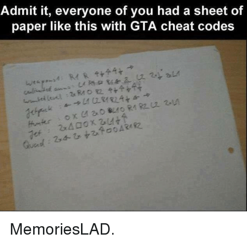 gta cheats: Admit it, everyone of you had a sheet of  paper like this with GTA cheat codes MemoriesLAD.