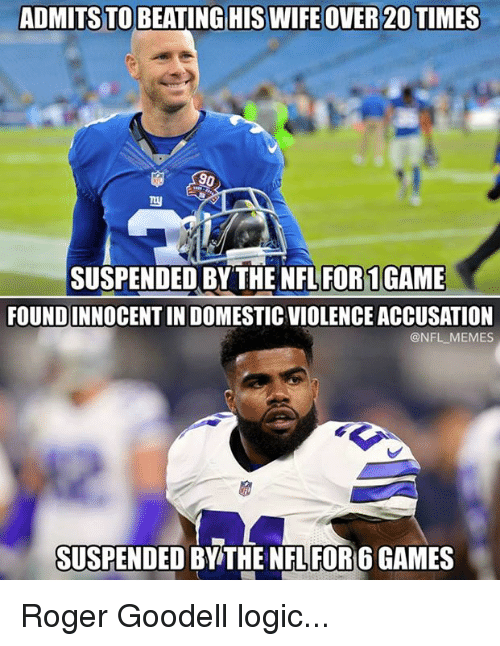 Rogered: ADMITS TO BEATING HIS WIFE OVER 20 TIMES  90  SUSPENDED BY THE NFL FOR1GAME  FOUNDINNOCENT IN DOMESTIC VIOLENCE ACCUSATION  @NFL MEMES  SUSPENDED BY THE NFL FOR 6 GAMES Roger Goodell logic...