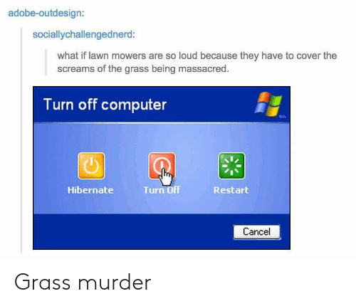 Adobe, Computer, and Murder: adobe-outdesign:  sociallychallengednerd:  what if lawn mowers are so loud because they have to cover the  screams of the grass being massacred  Turn off computer  Hibernate  Turn Off  Restart  Cancel Grass murder