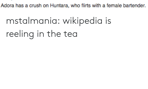 The Tea: Adora has a crush on Huntara, who flirts with a female bartender. mstalmania:  wikipedia is reeling in the tea