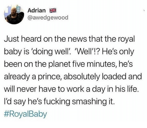 Dank, Fucking, and Life: Adrian  @awedgewood  Just heard on the news that the royal  baby is 'doing well. 'Well'!? He's only  been on the planet five minutes, he's  already a prince, absolutely loaded and  will never have to work a day in his life.  I'd say he's fucking smashing it.