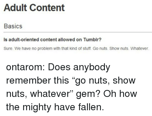 """Target, Tumblr, and Blog: Adult Content  Basics  Is adult-oriented content allowed on Tumblr?  Sure. We have no problem with that kind of stuff. Go nuts. Show nuts. Whatever. ontarom:  Does anybody remember this """"go nuts, show nuts, whatever"""" gem? Oh how the mighty have fallen."""