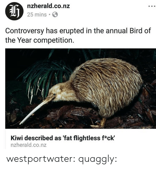 Af, Gif, and Tumblr: af  nzherald.co.nz  25 mins  Controversy has erupted in the annual Bird of  the Year competition.  Kiwi described as 'fat flightless f*ck'  nzherald.co.nz westportwater: quaggly: