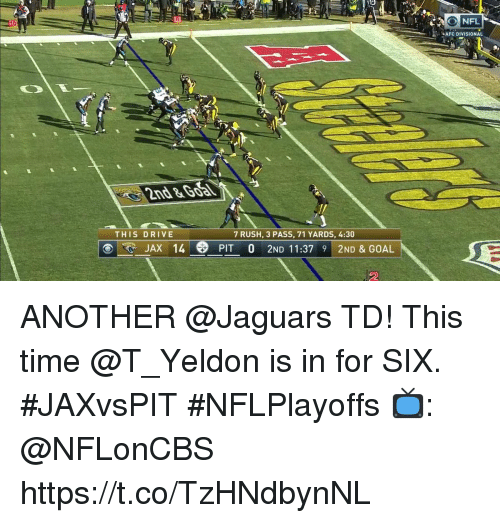 Memes, Drive, and Goal: AFC DIVISIONAL  2nd&Goa  THIS DRIVE  7 RUSH, 3 PASS, 71 YARDS, 4:30  E JAX 14 PIT O 2ND 11:37 9 2ND & GOAL  2 ANOTHER @Jaguars TD!  This time @T_Yeldon is in for SIX. #JAXvsPIT #NFLPlayoffs   📺: @NFLonCBS https://t.co/TzHNdbynNL