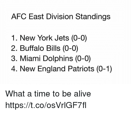 Miami Dolphins: AFC East Division Standings  1. New York Jets (0-0)  2. Buffalo Bills (0-0)  3. Miami Dolphins (0-0)  4. New England Patriots (0-1) What a time to be alive https://t.co/osVrlGF7fl