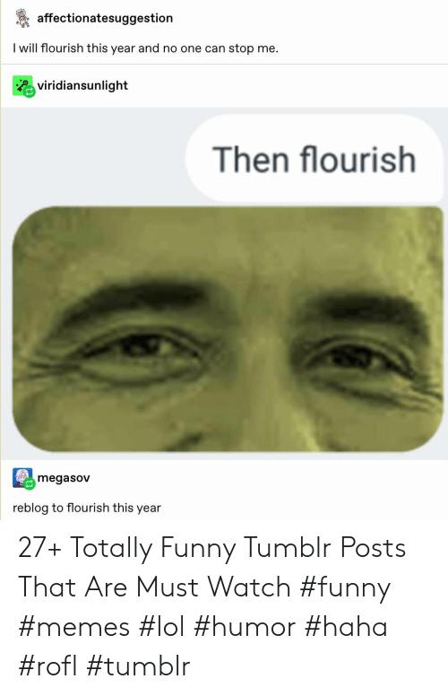 Memes Lol: affectionatesuggestion  I will flourish this year and no one can stop me.  Rviridiansunlight  Then flourish  megasov  reblog to flourish this year 27+ Totally Funny Tumblr Posts That Are Must Watch #funny #memes #lol #humor #haha #rofl #tumblr