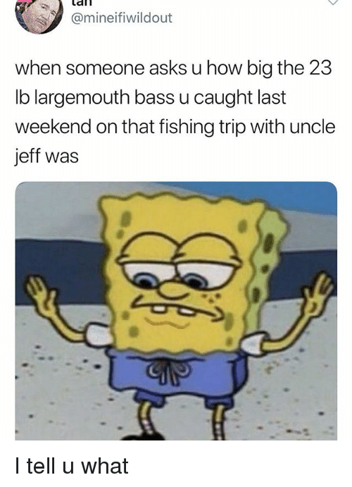 afl: afl  Omineifiwildout  when someone asks u how big the 23  lb largemouth bass u caught last  weekend on that fishing trip with uncle  jeff was I tell u what