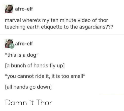 "Elf, Earth, and Marvel: afro-elf  marvel where's my ten minute video of thor  teaching earth etiquette to the asgardians???  afro-elf  ""this is a dog""  [a bunch of hands fly up  ""you cannot ride it, it is too small""  [all hands go down] Damn it Thor"