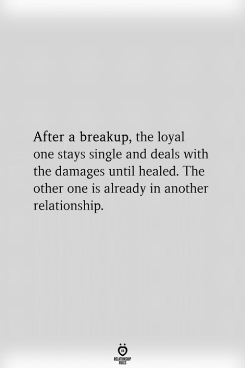 Single, Another, and Damages: After a breakup, the loyal  one stays single and deals with  the damages until healed. The  other one is already in another  relationship.